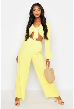 Womens Yellow Tie Front Crop + Trouser Beach Co-Ord