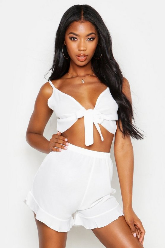 Womens White Tie Front Strappy Bralet And Short Beach Co-Ord