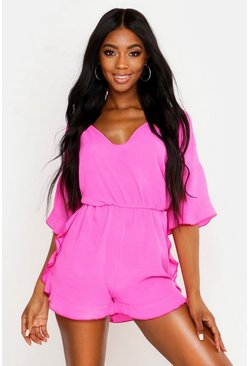 Womens Hot pink Ruffle Crepe Beach Playsuit