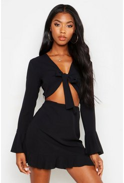 Womens Black Tie Front Crop + Skirt Beach Co-Ord