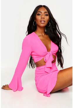 Womens Hot pink Tie Front Crop + Skirt Beach Co-Ord