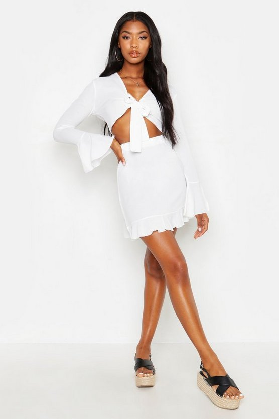 Womens White Tie Front Crop + Skirt Beach Co-Ord