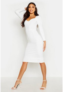 Womens White Sweetheart Neck Midi Dress