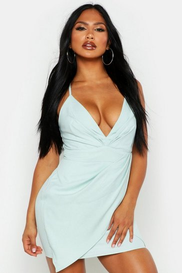 Womens Mint Plunge Pleat Detail Wrap Mini Dress