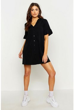 Black Woven V Neck Button Through Ruffle Shift Dress