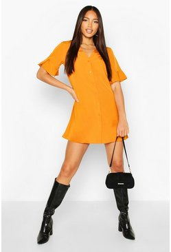 Mustard Woven V Neck Button Through Ruffle Shift Dress