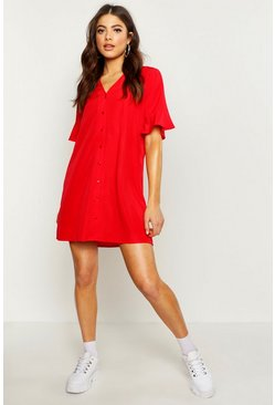 Red Woven V Neck Button Through Ruffle Shift Dress