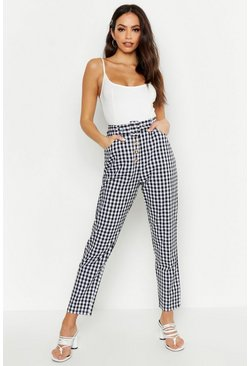 Womens Black Gingham Check Button Front Trousers