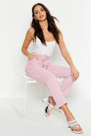 Womens Pink Gingham Check Button Front Trousers