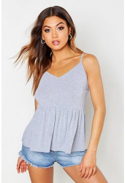 Grey marl Strappy V Neck Smock Top