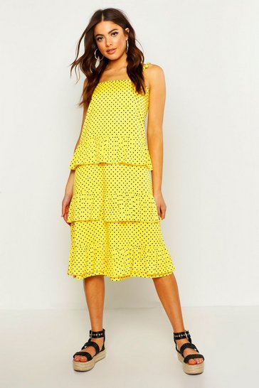 Womens Yellow Woven Spot Tie Tierred Midi Dress
