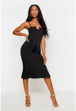 Black Strappy Panelled Peplum Midi Dress