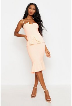 Neon-coral Strappy Panelled Peplum Midi Dress