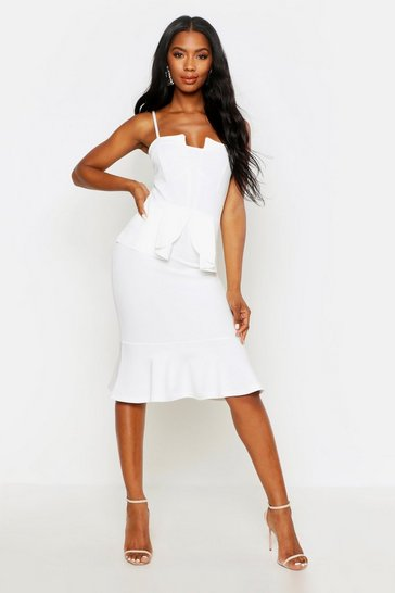 Womens White Strappy Panelled Peplum Midi Dress