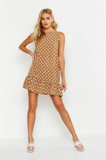 Womens Toffee Sleeveless Polka Dot Frill Hem Smock Dress