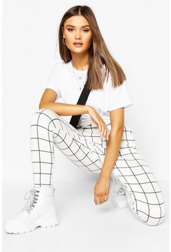 Womens White Grid Check Ponte Pocket Detail Treggings