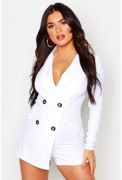 Womens White Tailored Button Front Playsuit