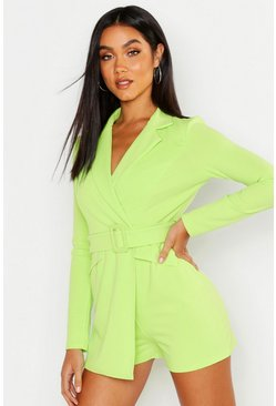 Womens Lime Belted Blazer Playsuit