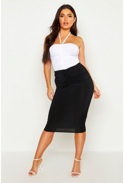 Womens Black Ruched Front Midi Skirt