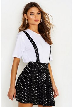 Womens Black Polka Dot Pinafore Skirt