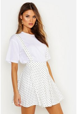 Womens Ivory Polka Dot Pinafore Skirt