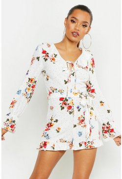White Floral Tie Front Playsuit