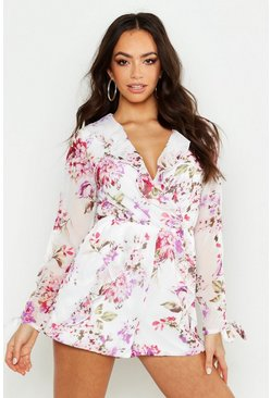 Womens White Floral Plunge Playsuit