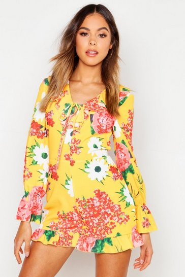 Womens Yellow Bold Floral Woven Playsuit