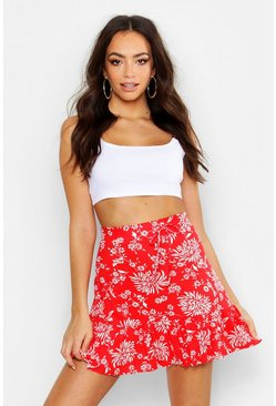 Womens Red Ruffle Hem Floral Mini Skirt