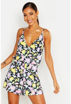 Black Wrap Front Floral Jersey Playsuit