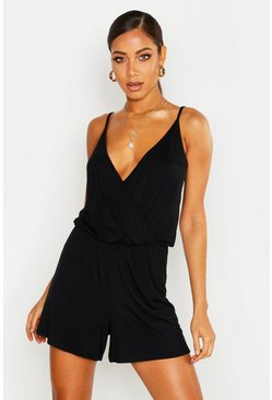 Womens Black Wrap Front Jersey Playsuit