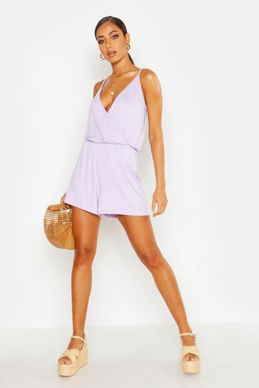 Lilac Basic Wrap Front Jersey Playsuit