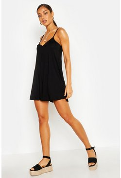 Womens Black Jersey Swing Playsuit