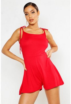 Womens Red Tie Shoulder Square Neck Jersey Romper
