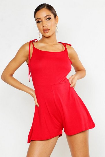 Red Tie Shoulder Square Neck Jersey Playsuit
