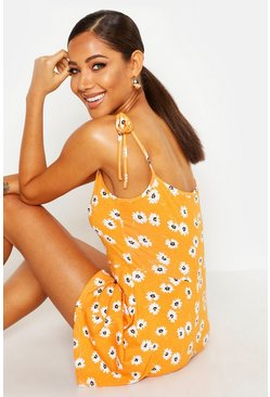 Womens Orange Tie Shoulder Daisy Print Jersey Playsuit
