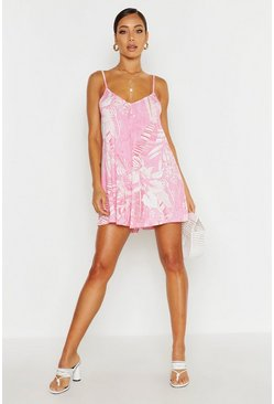 Womens Pink Palm Print Jersey Swing Playsuit