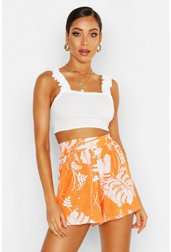 Womens Orange Palm Print Jersey Flippy Shorts