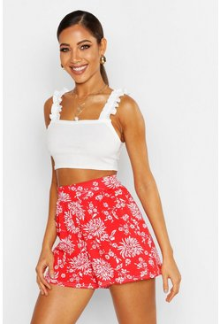 Womens Red Floral Jersey Flippy Shorts