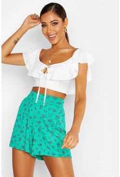 Womens Emerald Ditsy Floral Jersey Flippy Shorts