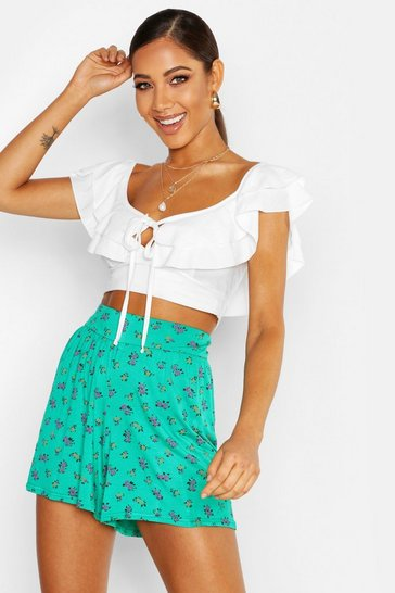 Emerald Ditsy Floral Jersey Flippy Shorts