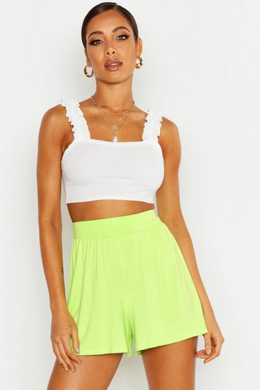 Womens Lime Jersey Flippy Shorts