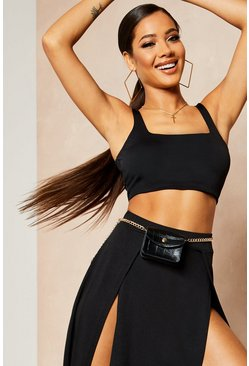 Womens Black Recycled Skinny Square Neck Crop Top
