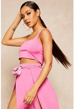 Womens Hot pink Recycled Skinny Square Neck Crop Top
