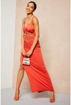 Womens Orange Recycled Slinky Wrap Maxi Dress
