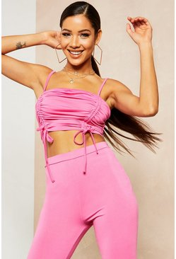 Womens Hot pink Recycled Slinky Double Ruched Crop Top