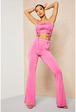 Womens Hot pink Recycled Slinky Fit & Flare Trouser