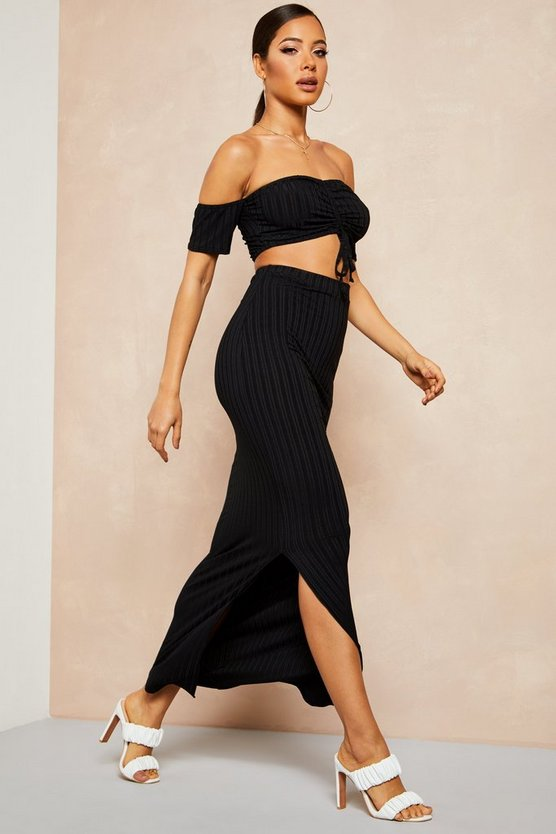Black Recycled Rib Bardot Ruched Top & Maxi Skirt Co-ord