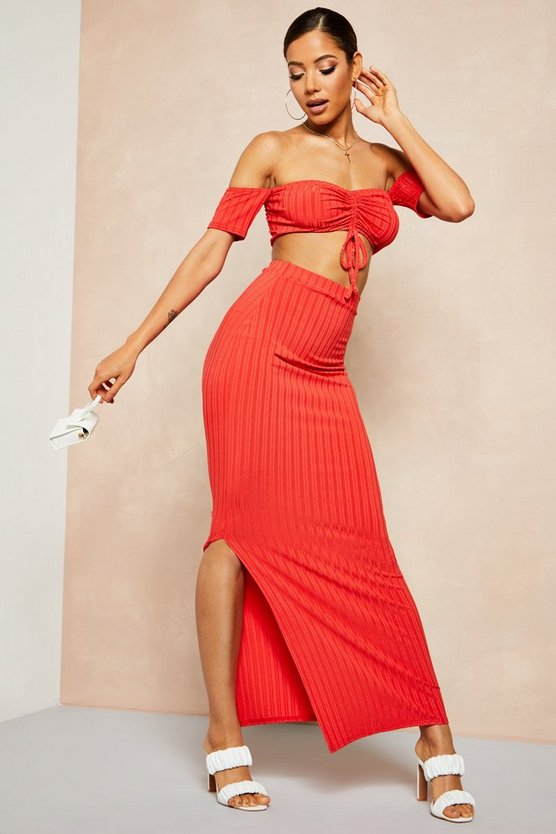 Womens Red Recycled Rib Bardot Ruched Top & Maxi Skirt Co-ord