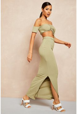 Womens Sage Recycled Rib Bardot Ruched Top & Maxi Skirt Co-ord